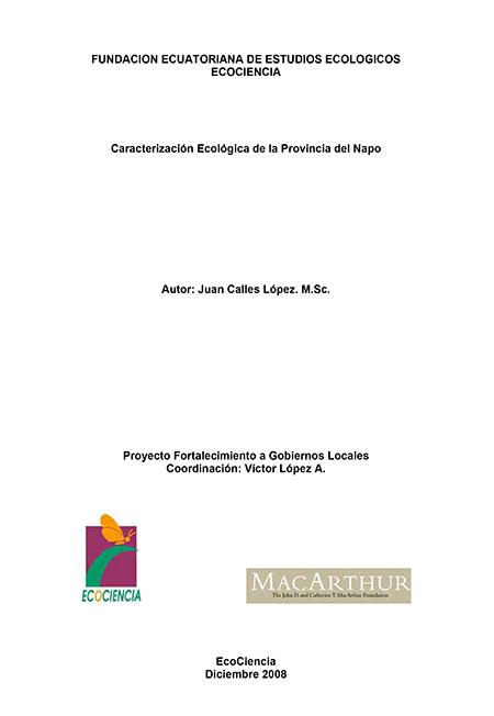 Caracterización ecológica de la provincia del Napo